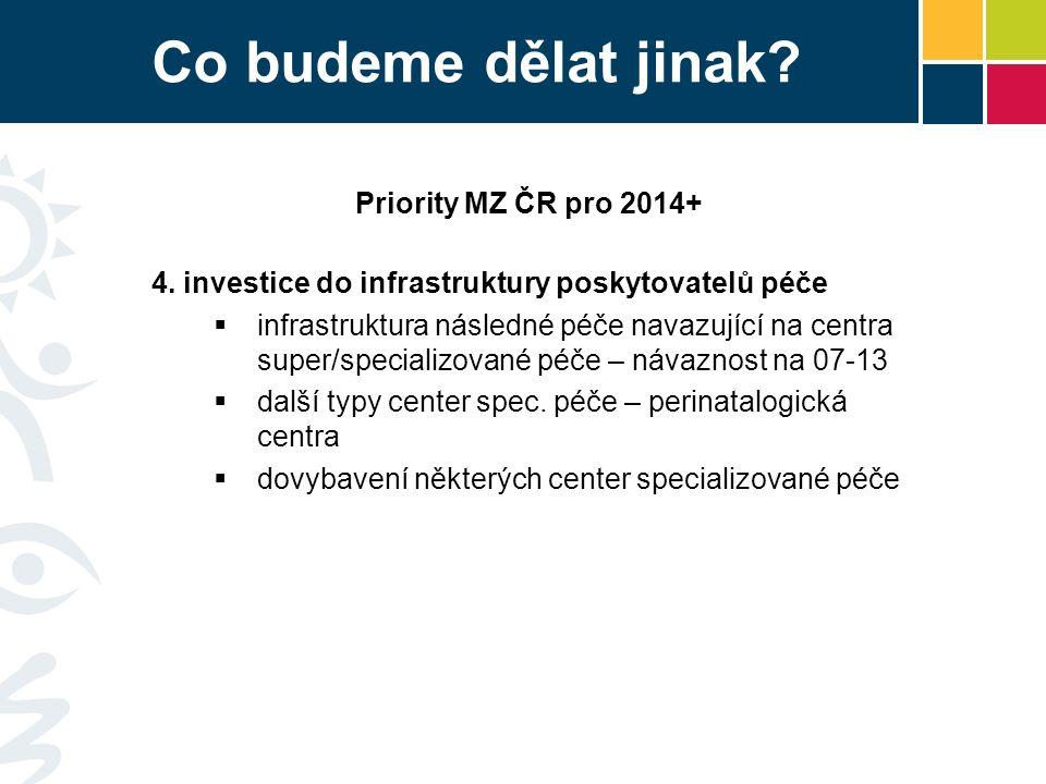 Co budeme dělat jinak? Priority MZ ČR pro 2014+ 4. investice do infrastruktury poskytovatelů péče  infrastruktura následné péče navazující na centra