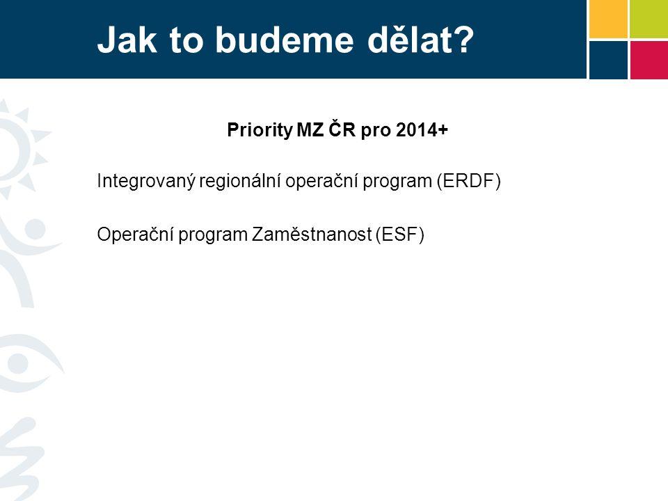 Jak to budeme dělat? Priority MZ ČR pro 2014+ Integrovaný regionální operační program (ERDF) Operační program Zaměstnanost (ESF)
