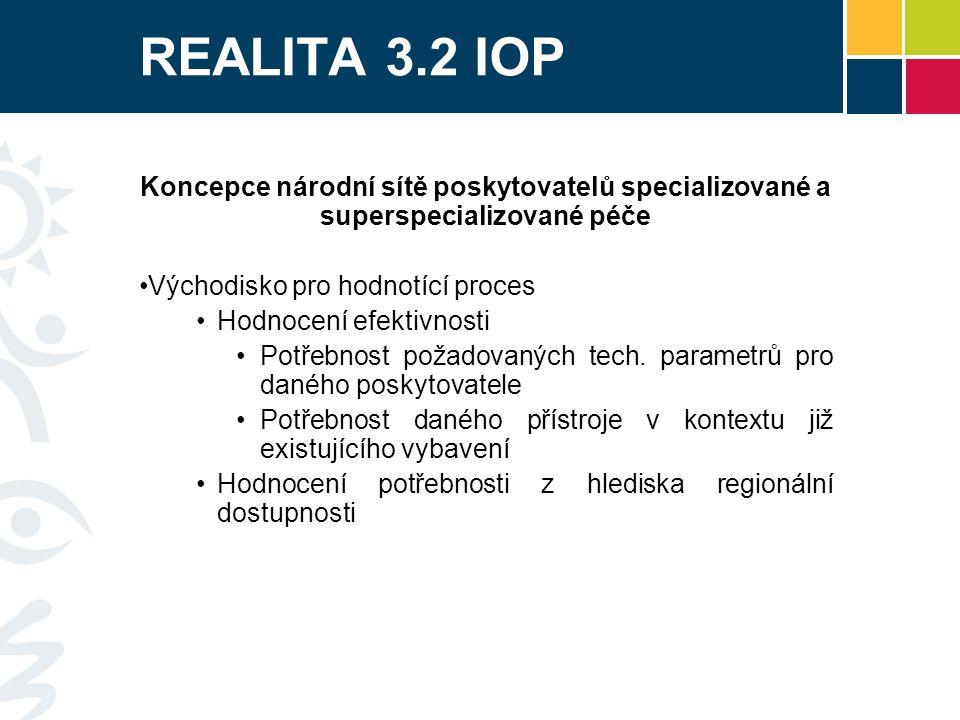 REALITA IOP 3.2 a) Národní sítě specializované a superspecializované péče – podpora z IOP 6 výzev Alokace výzev – 6,9 miliard Kč (cca 270 mil €) 29 různých podpořených poskytovatelů péče - nemocnic (k 10.6.2013) 5 lineárních urychlovačů 9 magnetických rezonancí 12 tomografů 16 angiografů 32 různých rentgenových přístrojů Více než 40 ultrazvuků