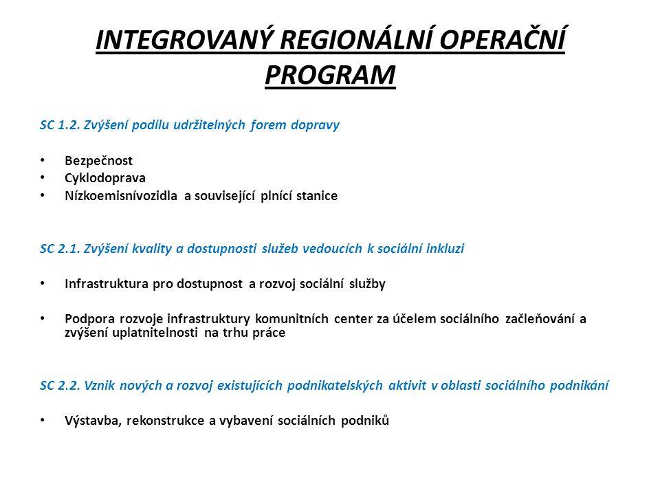 INTEGROVANÝ REGIONÁLNÍ OPERAČNÍ PROGRAM SC 1.2.