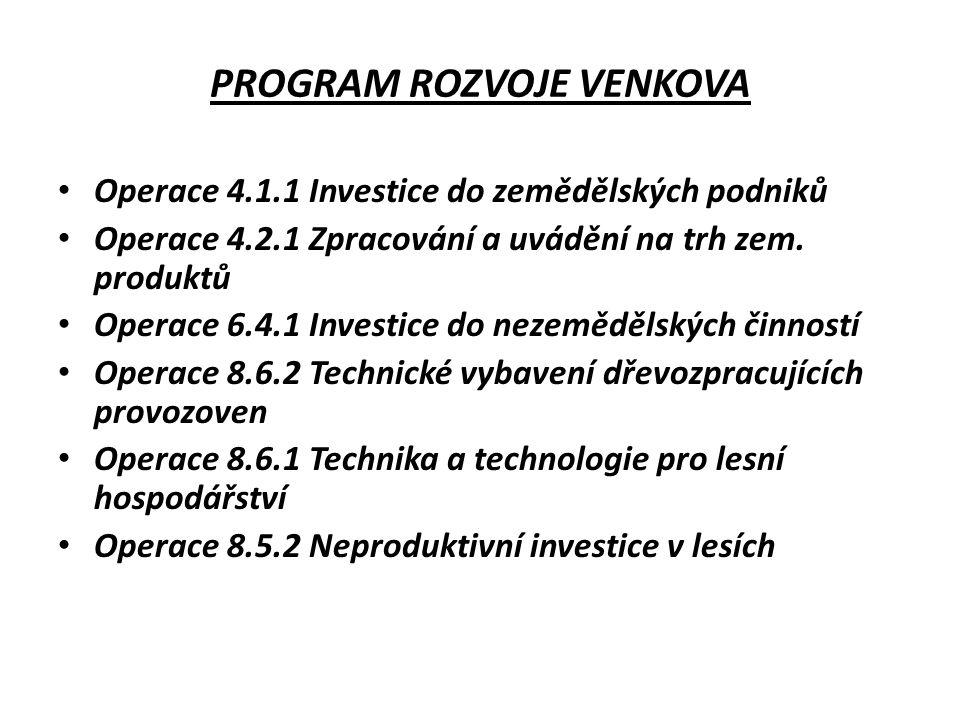 PROGRAM ROZVOJE VENKOVA Operace 4.1.1 Investice do zemědělských podniků Operace 4.2.1 Zpracování a uvádění na trh zem.