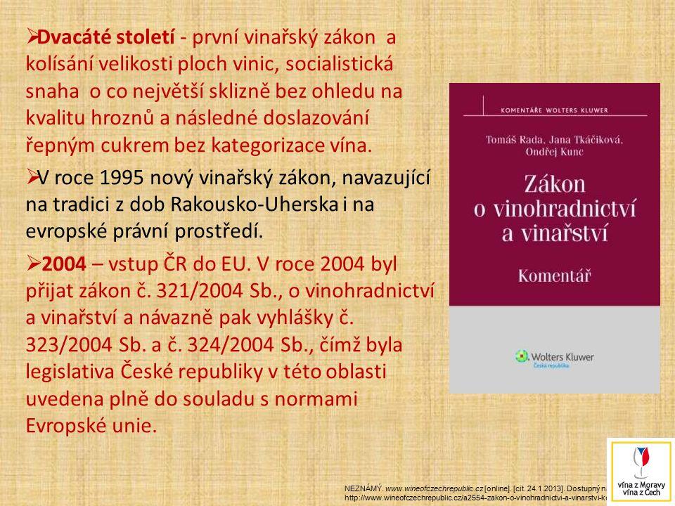  Dvacáté století - první vinařský zákon a kolísání velikosti ploch vinic, socialistická snaha o co největší sklizně bez ohledu na kvalitu hroznů a ná
