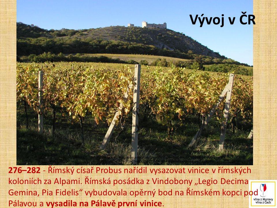 """276–282 - Římský císař Probus nařídil vysazovat vinice v římských koloniích za Alpami. Římská posádka z Vindobony """"Legio Decima Gemina, Pia Fidelis"""" v"""