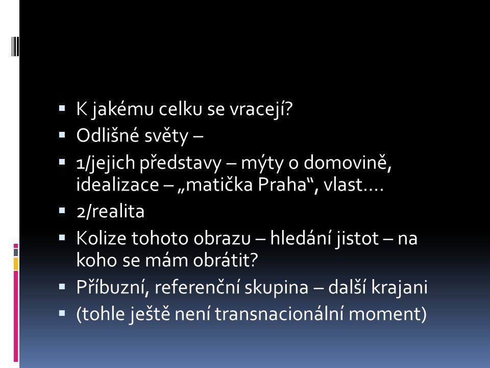 """ K jakému celku se vracejí?  Odlišné světy –  1/jejich představy – mýty o domovině, idealizace – """"matička Praha"""", vlast….  2/realita  Kolize toho"""