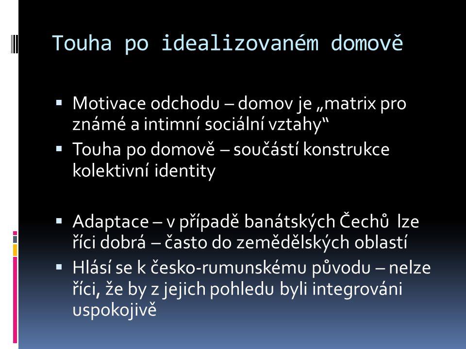 """Touha po idealizovaném domově  Motivace odchodu – domov je """"matrix pro známé a intimní sociální vztahy  Touha po domově – součástí konstrukce kolektivní identity  Adaptace – v případě banátských Čechů lze říci dobrá – často do zemědělských oblastí  Hlásí se k česko-rumunskému původu – nelze říci, že by z jejich pohledu byli integrováni uspokojivě"""