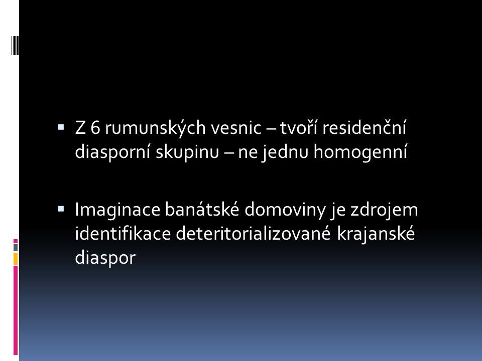  Z 6 rumunských vesnic – tvoří residenční diasporní skupinu – ne jednu homogenní  Imaginace banátské domoviny je zdrojem identifikace deteritorializované krajanské diaspor