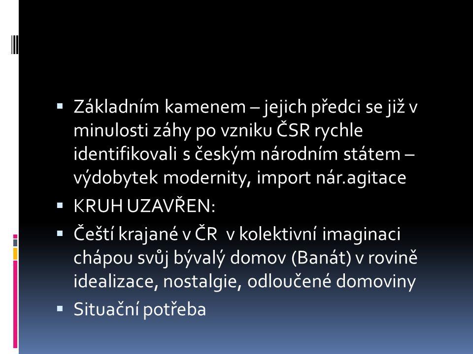  Základním kamenem – jejich předci se již v minulosti záhy po vzniku ČSR rychle identifikovali s českým národním státem – výdobytek modernity, import