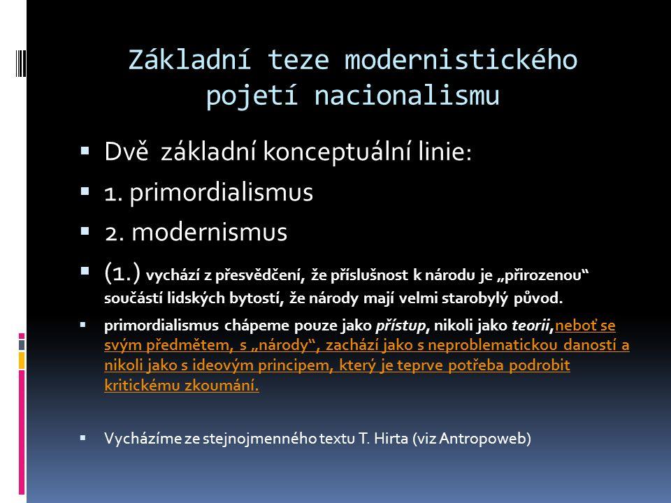 Základní teze modernistického pojetí nacionalismu  Dvě základní konceptuální linie:  1. primordialismus  2. modernismus  (1.) vychází z přesvědčen