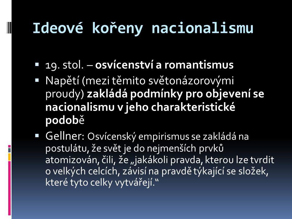 Ideové kořeny nacionalismu  19. stol.