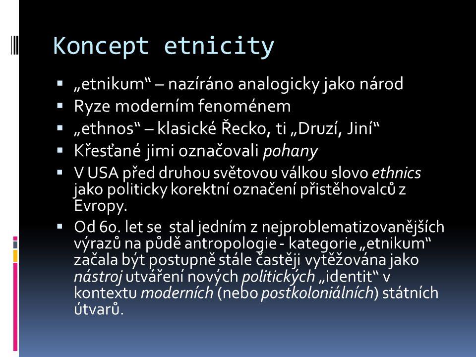 """Koncept etnicity  """"etnikum – nazíráno analogicky jako národ  Ryze moderním fenoménem  """"ethnos – klasické Řecko, ti """"Druzí, Jiní  Křesťané jimi označovali pohany  V USA před druhou světovou válkou slovo ethnics jako politicky korektní označení přistěhovalců z Evropy."""
