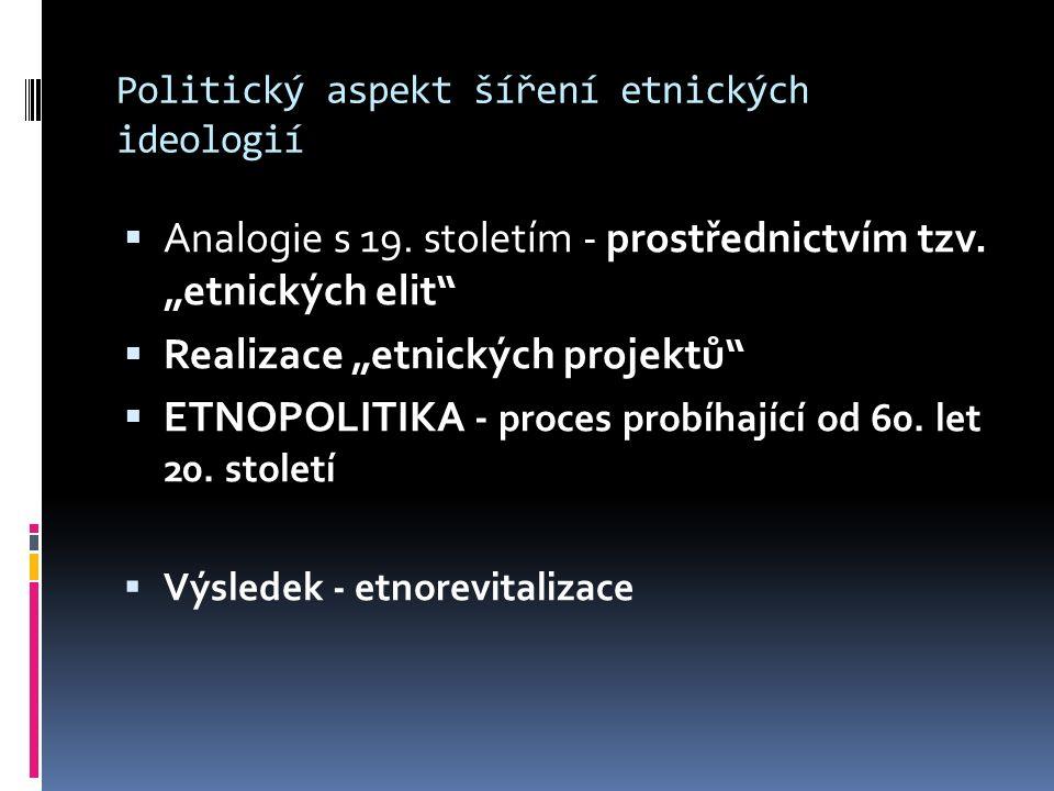 """Politický aspekt šíření etnických ideologií  Analogie s 19. stoletím - prostřednictvím tzv. """"etnických elit""""  Realizace """"etnických projektů""""  ETNOP"""