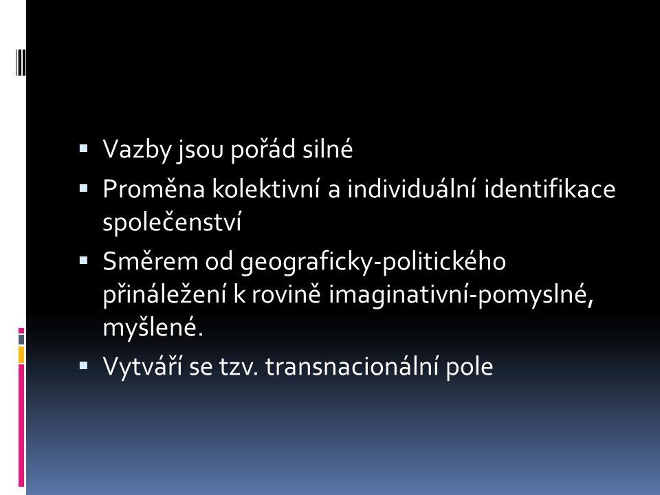  Vazby jsou pořád silné  Proměna kolektivní a individuální identifikace společenství  Směrem od geograficky-politického přináležení k rovině imaginativní-pomyslné, myšlené.