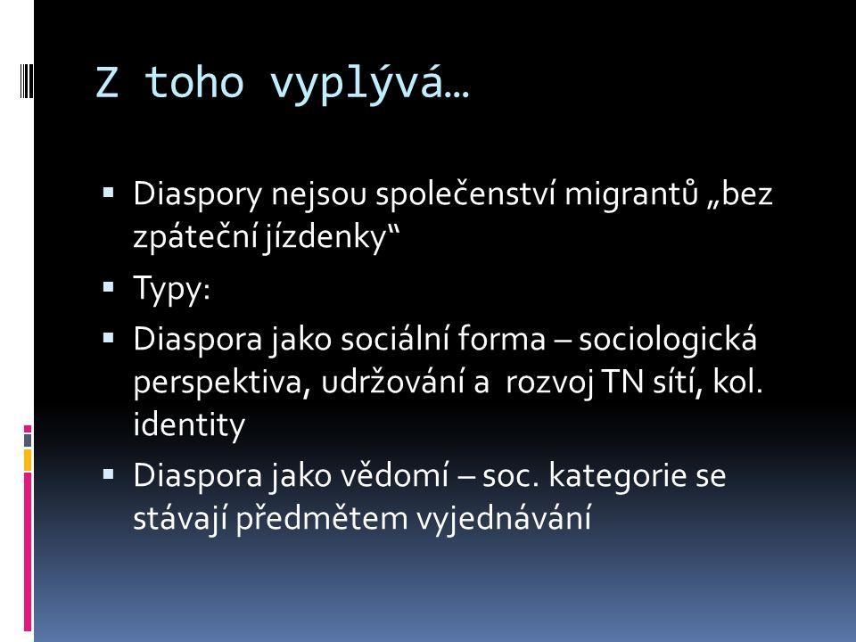 """Z toho vyplývá…  Diaspory nejsou společenství migrantů """"bez zpáteční jízdenky  Typy:  Diaspora jako sociální forma – sociologická perspektiva, udržování a rozvoj TN sítí, kol."""