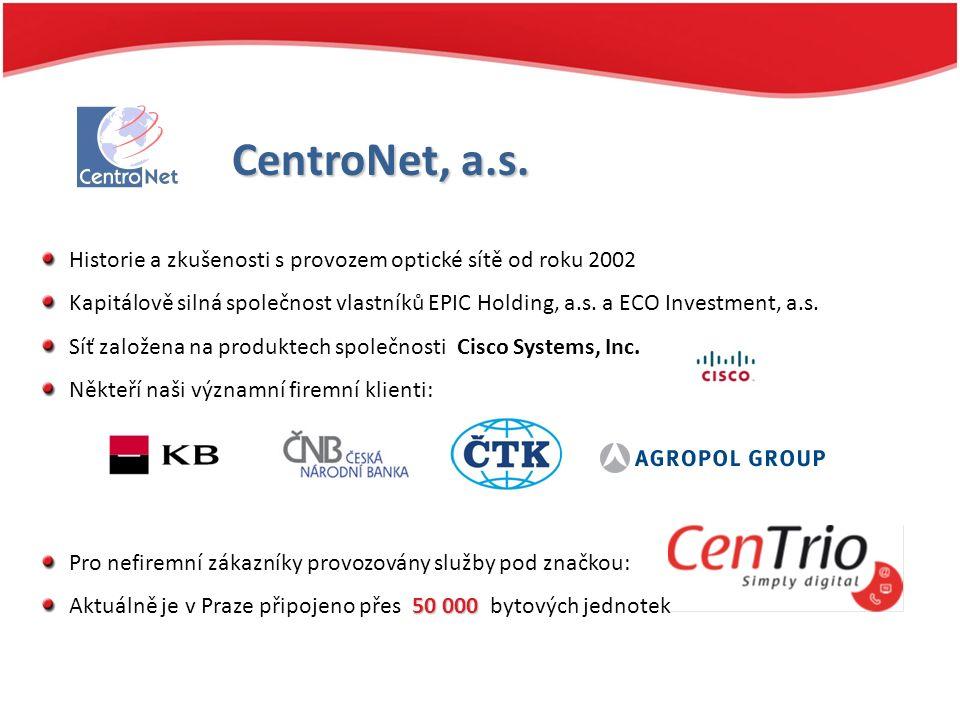 CentroNet, a.s. Historie a zkušenosti s provozem optické sítě od roku 2002 Kapitálově silná společnost vlastníků EPIC Holding, a.s. a ECO Investment,