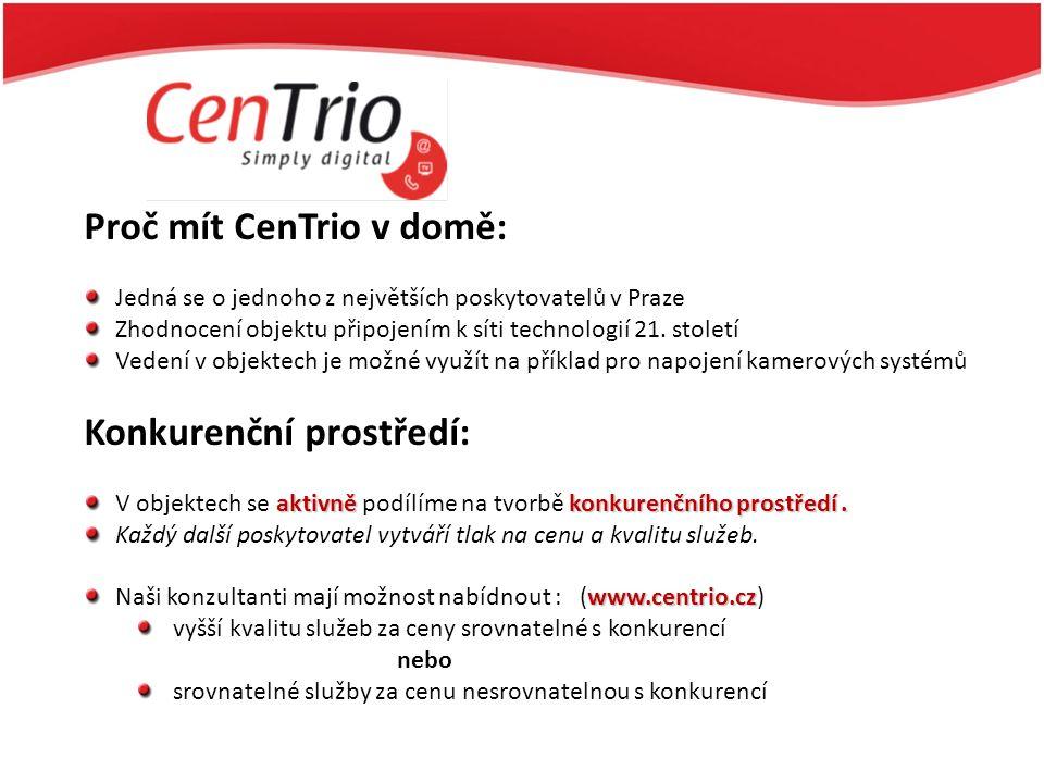 Proč mít CenTrio v domě: Jedná se o jednoho z největších poskytovatelů v Praze Zhodnocení objektu připojením k síti technologií 21. století Vedení v o