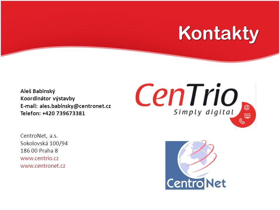 Kontakty Aleš Babinský Koordinátor výstavby E-mail: ales.babinsky@centronet.cz Telefon: +420 739673381 CentroNet, a.s. Sokolovská 100/94 186 00 Praha