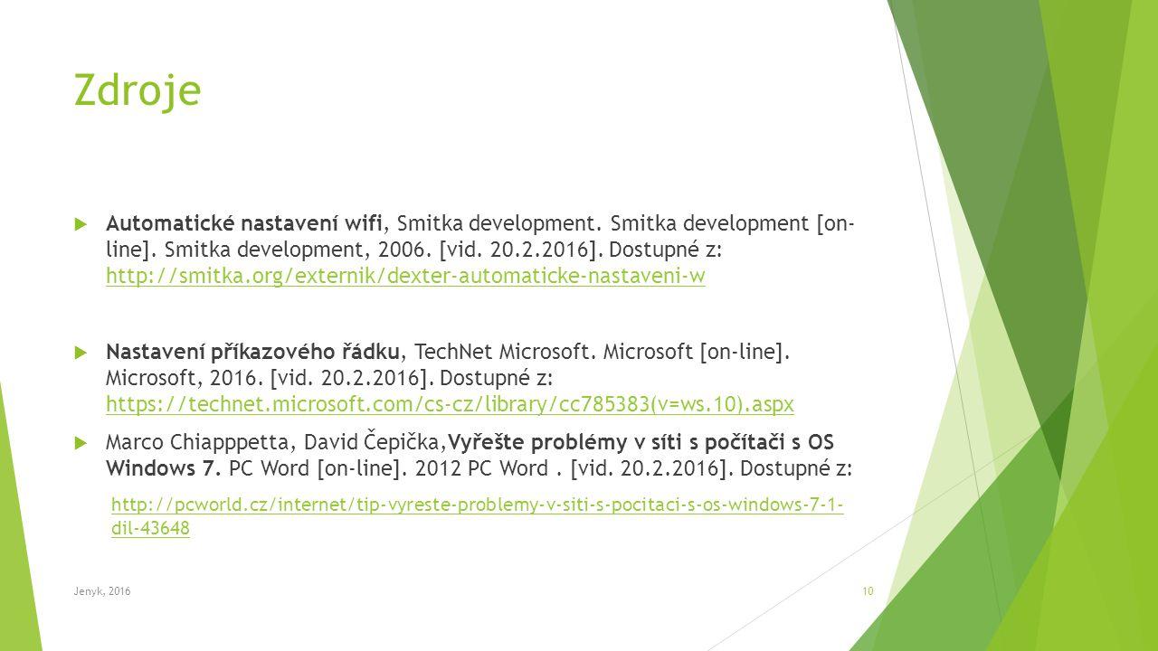 Zdroje  Automatické nastavení wifi, Smitka development.