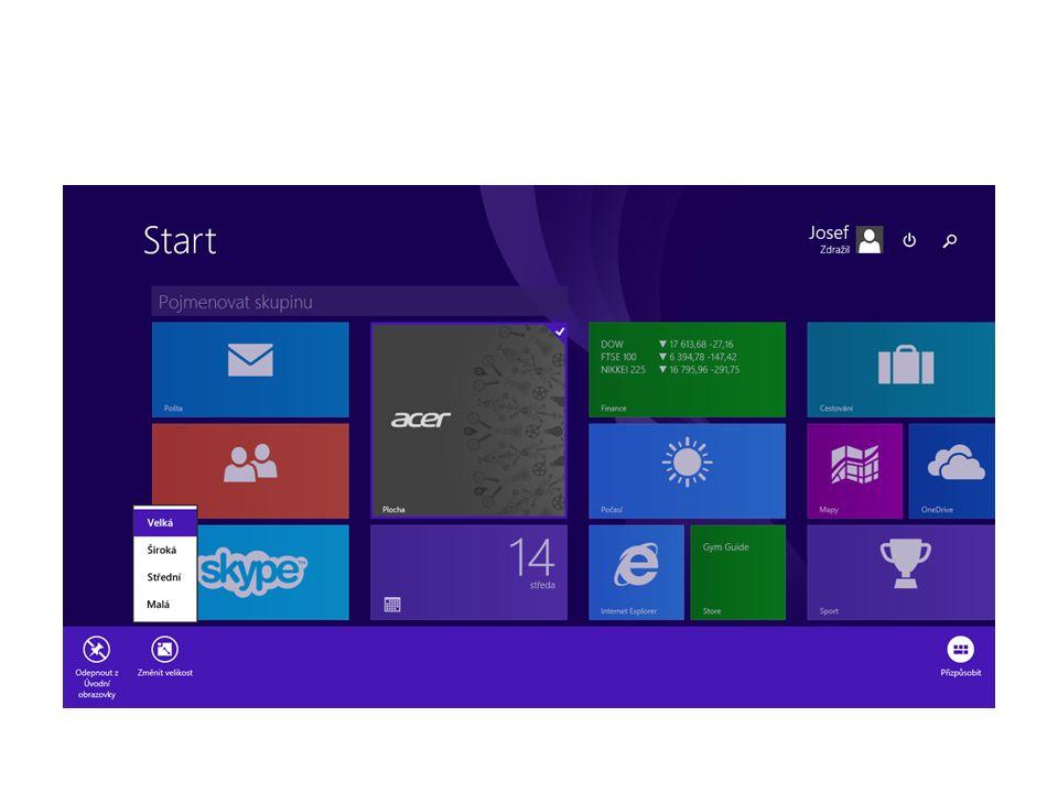 Základní orientace v operačním systému Pracovní plocha Aplikace na hlavním panelu