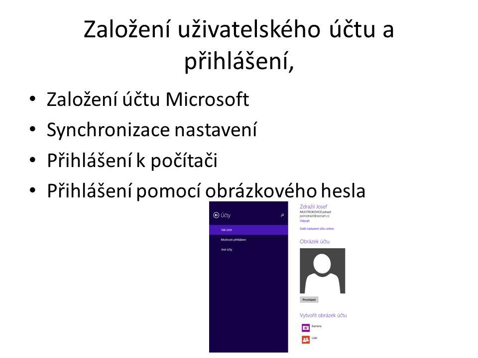Založení uživatelského účtu a přihlášení, Založení účtu Microsoft Synchronizace nastavení Přihlášení k počítači Přihlášení pomocí obrázkového hesla