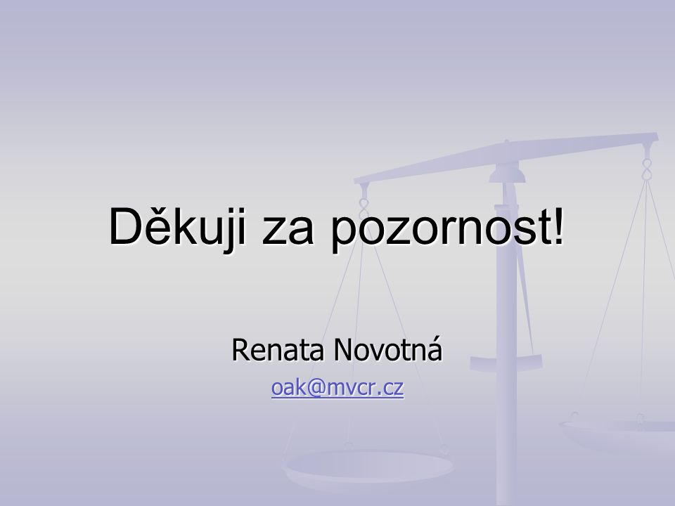 Děkuji za pozornost! Renata Novotná oak@mvcr.cz
