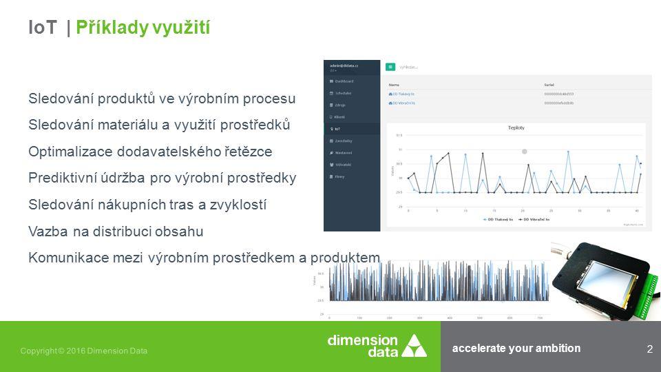 accelerate your ambition 2 Copyright © 2016 Dimension Data Sledování produktů ve výrobním procesu Sledování materiálu a využití prostředků Optimalizace dodavatelského řetězce Prediktivní údržba pro výrobní prostředky Sledování nákupních tras a zvyklostí Vazba na distribuci obsahu Komunikace mezi výrobním prostředkem a produktem IoT | Příklady využití
