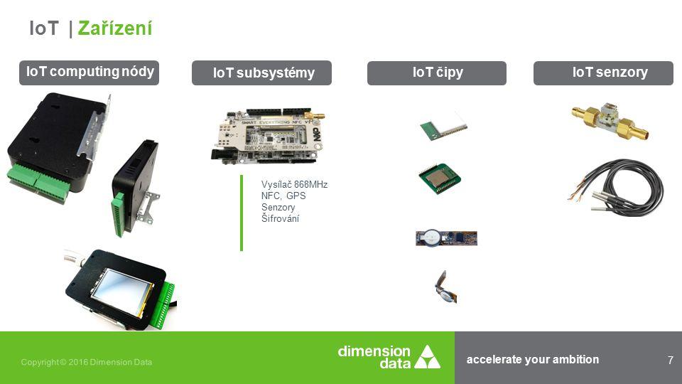 accelerate your ambition 7 Copyright © 2016 Dimension Data IoT computing nódy IoT čipy IoT | Zařízení IoT senzory Vysílač 868MHz NFC, GPS Senzory Šifrování IoT subsystémy