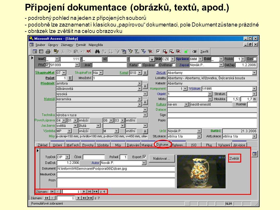 Připojení dokumentace (obrázků, textů, apod.) - obrázek lze zvětšit na celou obrazovku