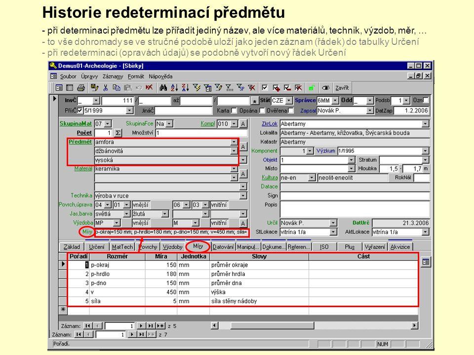 Historie redeterminací předmětu - při determinaci předmětu lze přiřadit jediný název, ale více materiálů, technik, výzdob, měr, … - to vše dohromady se ve stručné podobě uloží jako jeden záznam (řádek) do tabulky Určení - při redeterminaci (opravách údajů) se podobně vytvoří nový řádek Určení