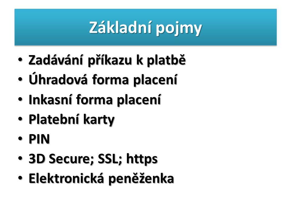 Základní pojmy Zadávání příkazu k platbě Zadávání příkazu k platbě Úhradová forma placení Úhradová forma placení Inkasní forma placení Inkasní forma placení Platební karty Platební karty PIN PIN 3D Secure; SSL; https 3D Secure; SSL; https Elektronická peněženka Elektronická peněženka