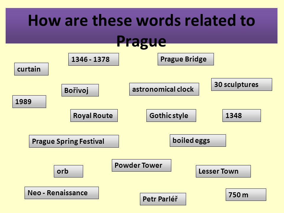 How are these words related to Prague curtain 1348 boiled eggs Prague Spring Festival 30 sculptures orb Neo - Renaissance Lesser Town Powder Tower Petr Parléř astronomical clock 1346 - 1378 750 m Prague Bridge Bořivoj Royal Route 1989 Gothic style