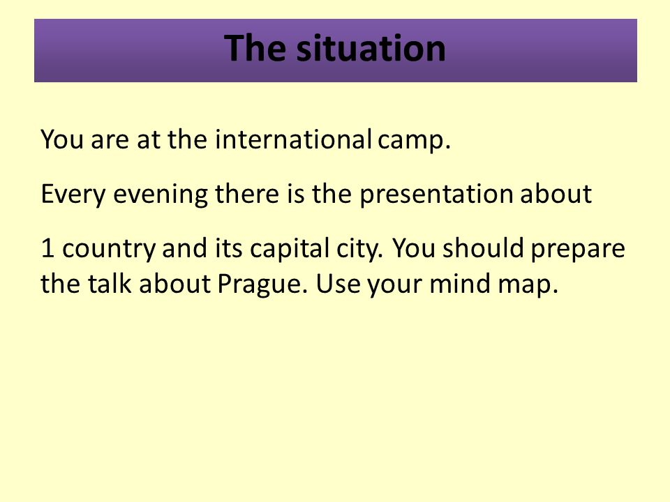 The situation You are at the international camp.
