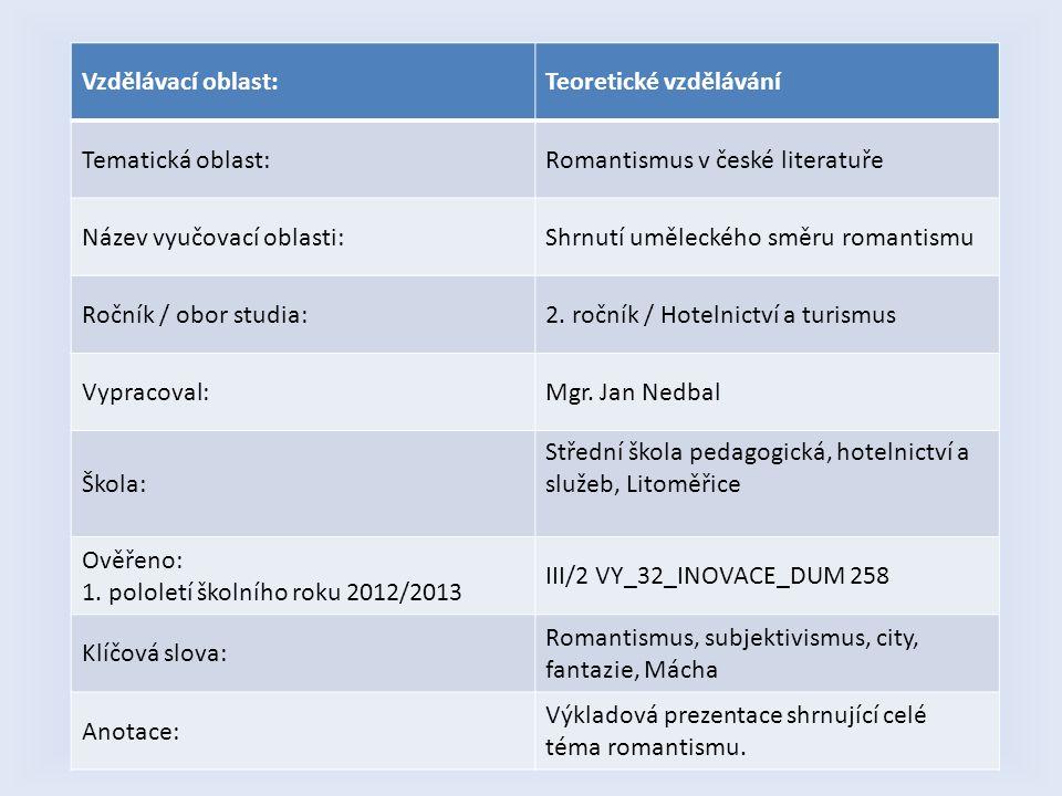 Vzdělávací oblast:Teoretické vzdělávání Tematická oblast:Romantismus v české literatuře Název vyučovací oblasti:Shrnutí uměleckého směru romantismu Ro