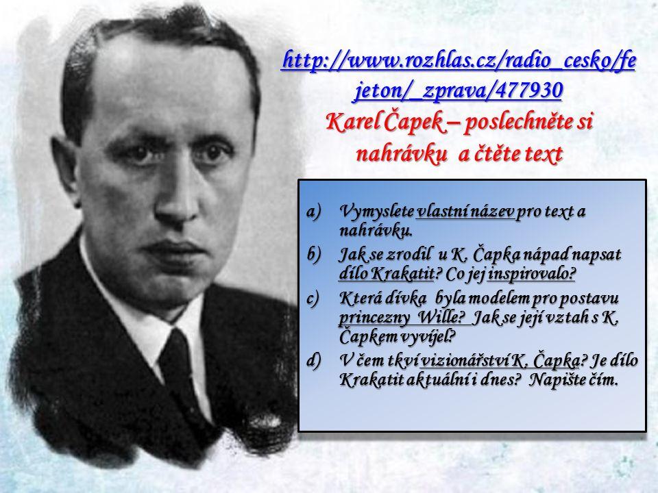 http://www.rozhlas.cz/radio_cesko/fe jeton/_zprava/477930 http://www.rozhlas.cz/radio_cesko/fe jeton/_zprava/477930 Karel Čapek – poslechněte si nahrávku a čtěte text http://www.rozhlas.cz/radio_cesko/fe jeton/_zprava/477930 a)Vymyslete vlastní název pro text a nahrávku.