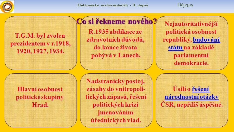 Elektronické učební materiály - II.stupeň Dějepis T.G.M.