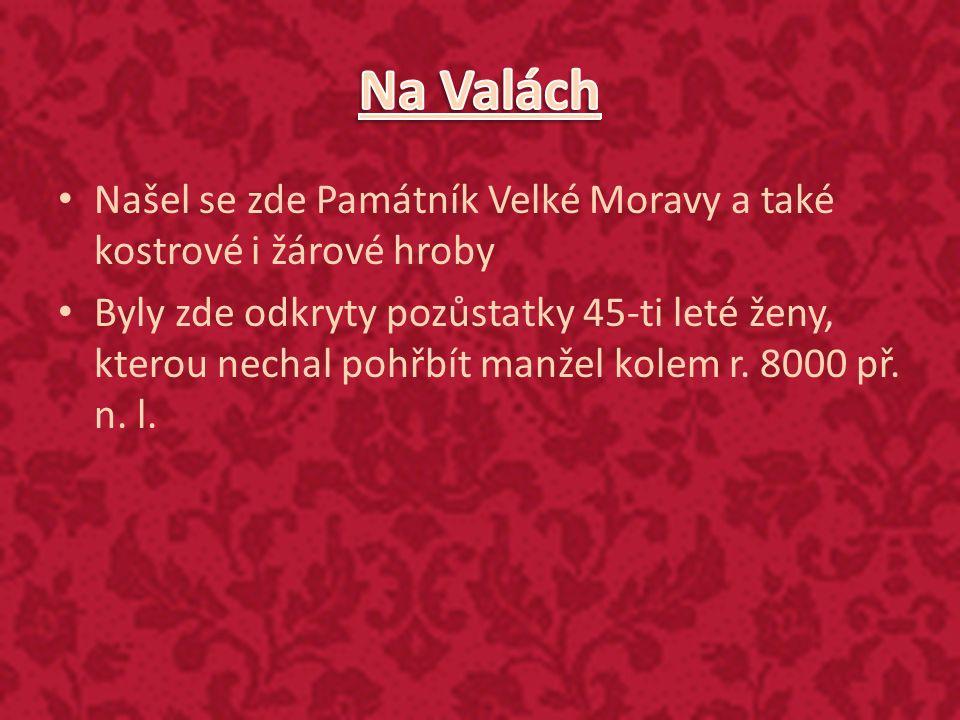 Našel se zde Památník Velké Moravy a také kostrové i žárové hroby Byly zde odkryty pozůstatky 45-ti leté ženy, kterou nechal pohřbít manžel kolem r. 8