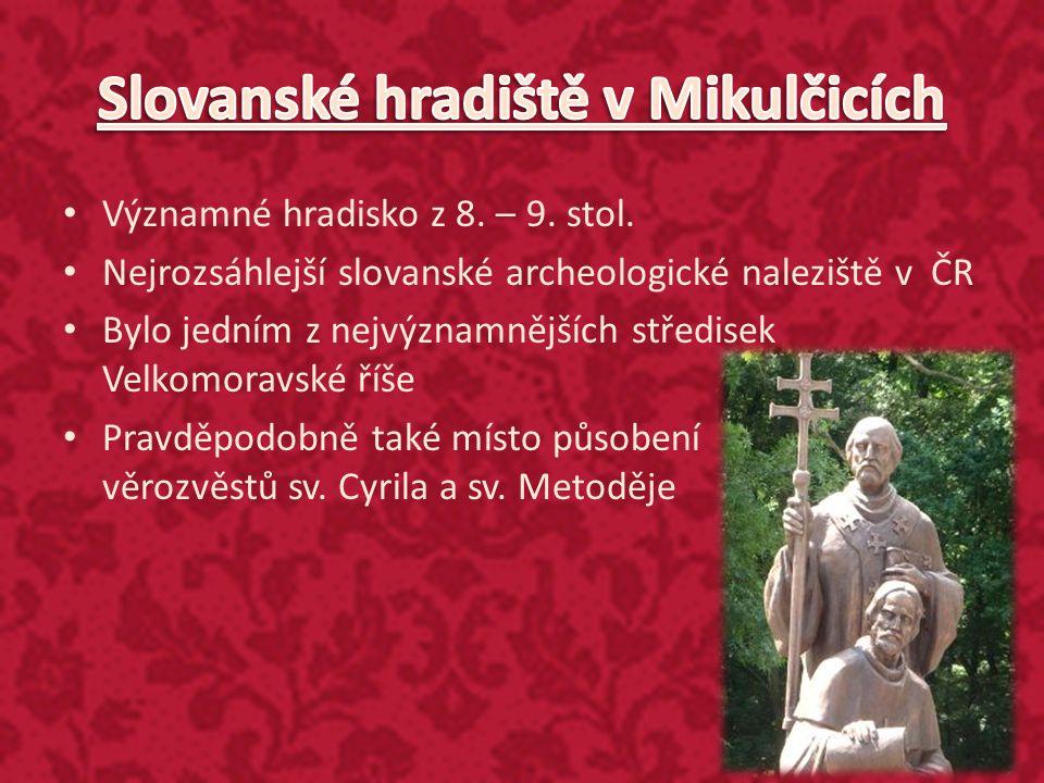Významné hradisko z 8. – 9. stol. Nejrozsáhlejší slovanské archeologické naleziště v ČR Bylo jedním z nejvýznamnějších středisek Velkomoravské říše Pr