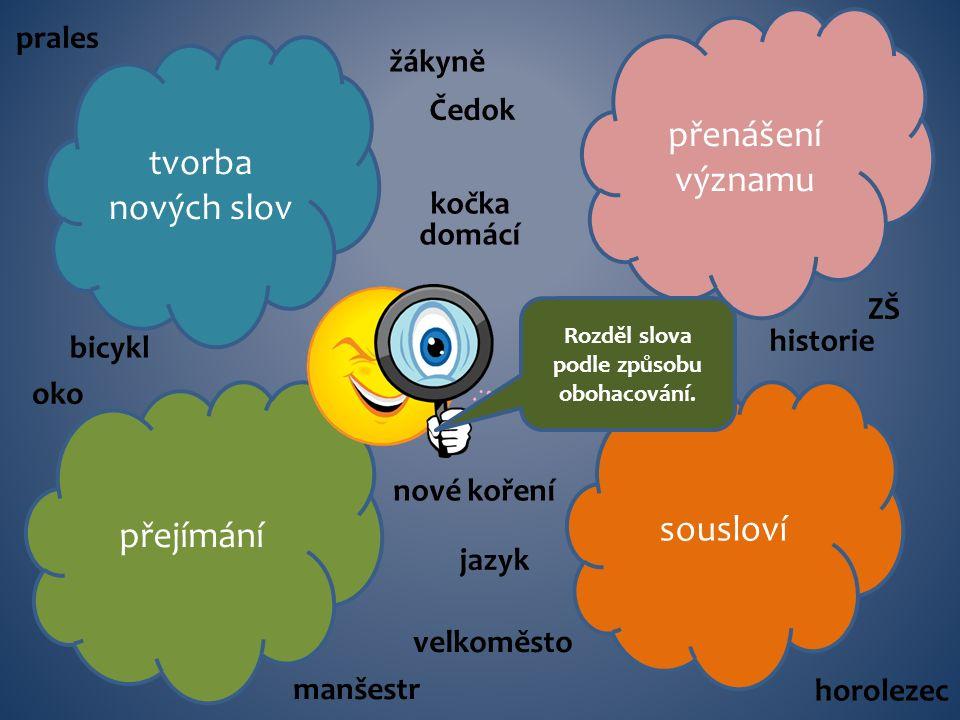 tvorba nových slov přenášení významu přejímání sousloví Rozděl slova podle způsobu obohacování.