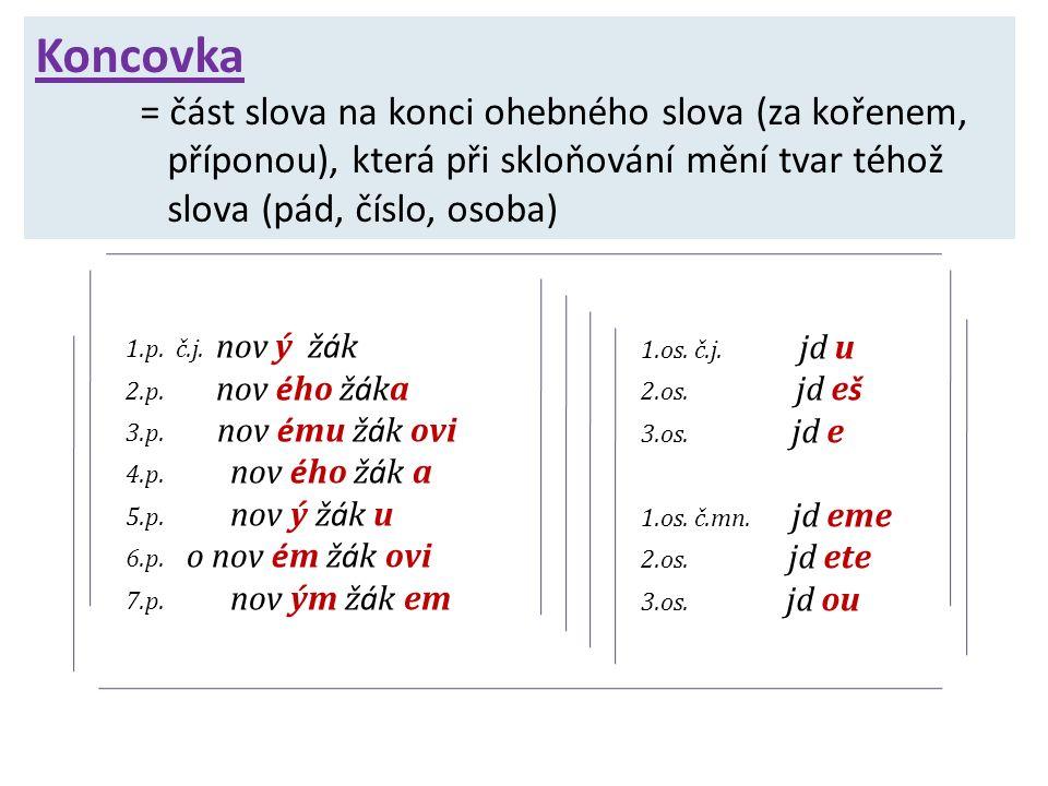 Koncovka = část slova na konci ohebného slova (za kořenem, příponou), která při skloňování mění tvar téhož slova (pád, číslo, osoba) 1.p. č.j. nov ý ž