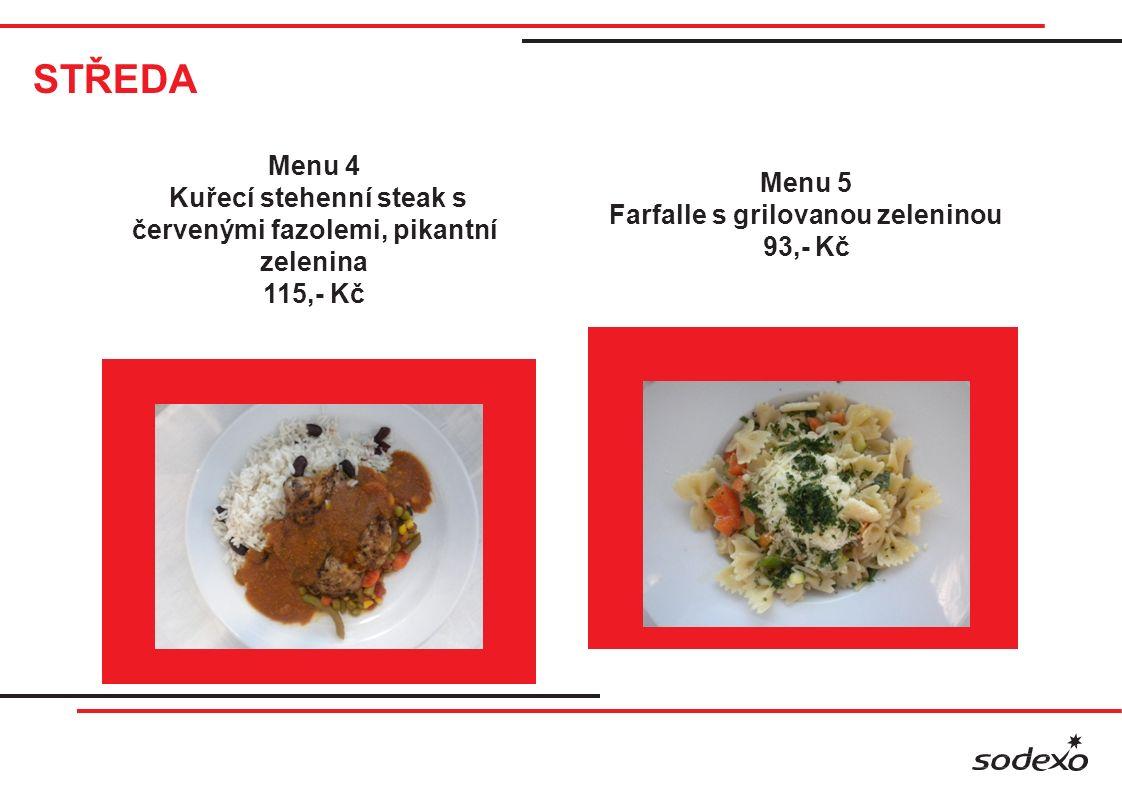 STŘEDA Menu 4 Kuřecí stehenní steak s červenými fazolemi, pikantní zelenina 115,- Kč Menu 5 Farfalle s grilovanou zeleninou 93,- Kč