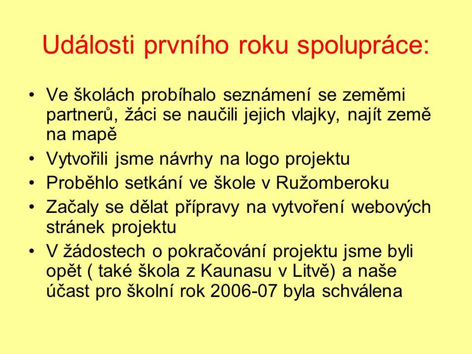 Události prvního roku spolupráce: Ve školách probíhalo seznámení se zeměmi partnerů, žáci se naučili jejich vlajky, najít země na mapě Vytvořili jsme návrhy na logo projektu Proběhlo setkání ve škole v Ružomberoku Začaly se dělat přípravy na vytvoření webových stránek projektu V žádostech o pokračování projektu jsme byli opět ( také škola z Kaunasu v Litvě) a naše účast pro školní rok 2006-07 byla schválena
