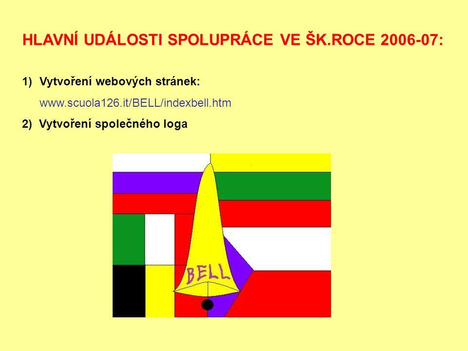 HLAVNÍ UDÁLOSTI SPOLUPRÁCE VE ŠK.ROCE 2006-07: 1)Vytvoření webových stránek: www.scuola126.it/BELL/indexbell.htm 2) Vytvoření společného loga