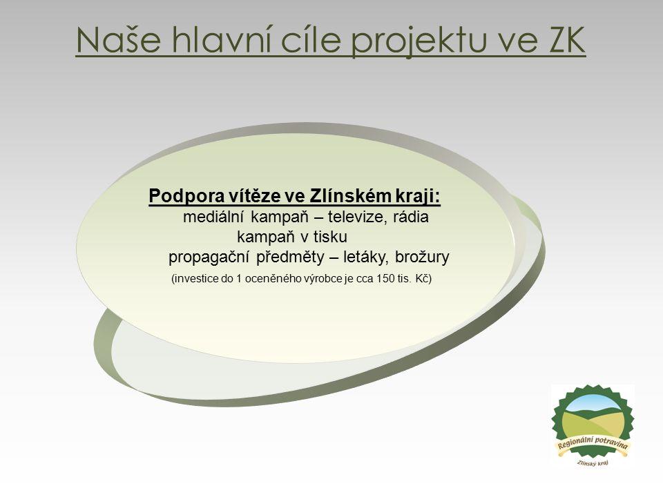 Naše hlavní cíle projektu ve ZK Podpora vítěze ve Zlínském kraji: mediální kampaň – televize, rádia kampaň v tisku propagační předměty – letáky, brožu