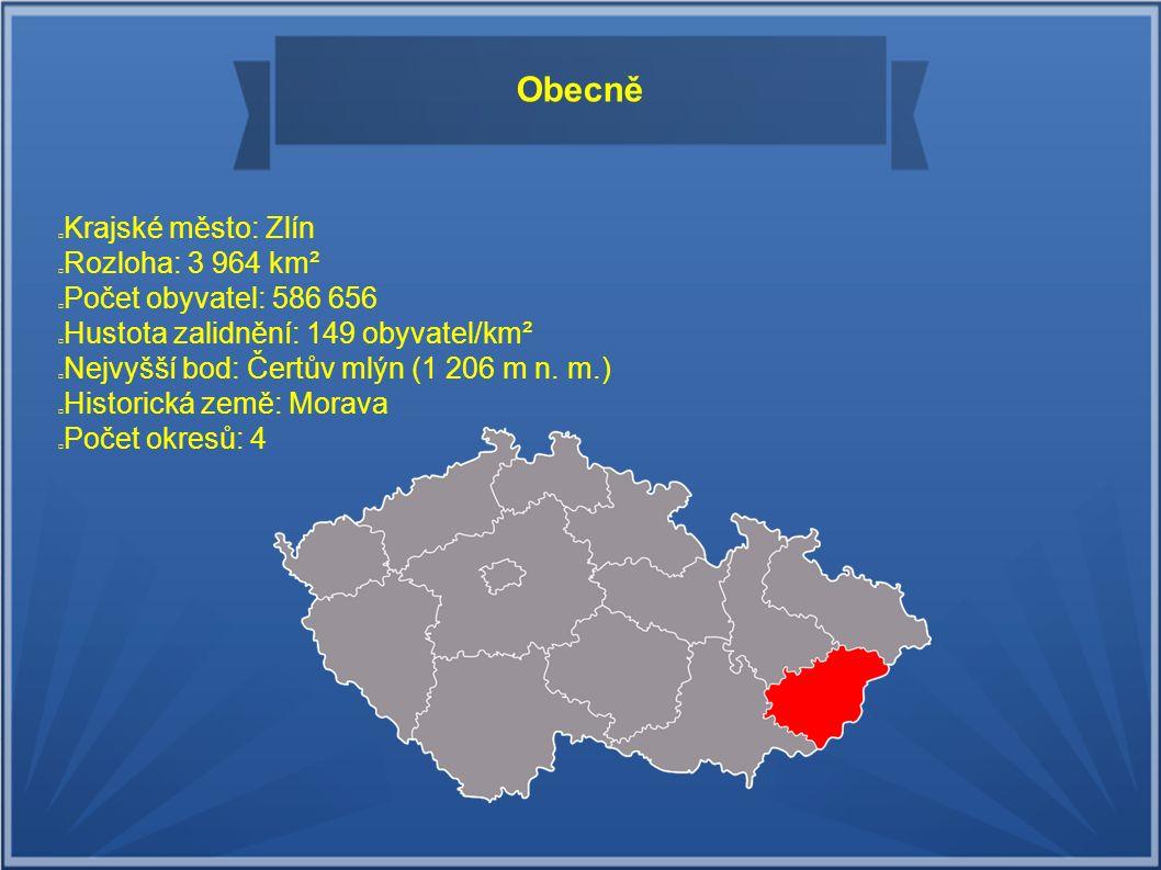 Obecně Krajské město: Zlín Rozloha: 3 964 km² Počet obyvatel: 586 656 Hustota zalidnění: 149 obyvatel/km² Nejvyšší bod: Čertův mlýn (1 206 m n. m.) Hi