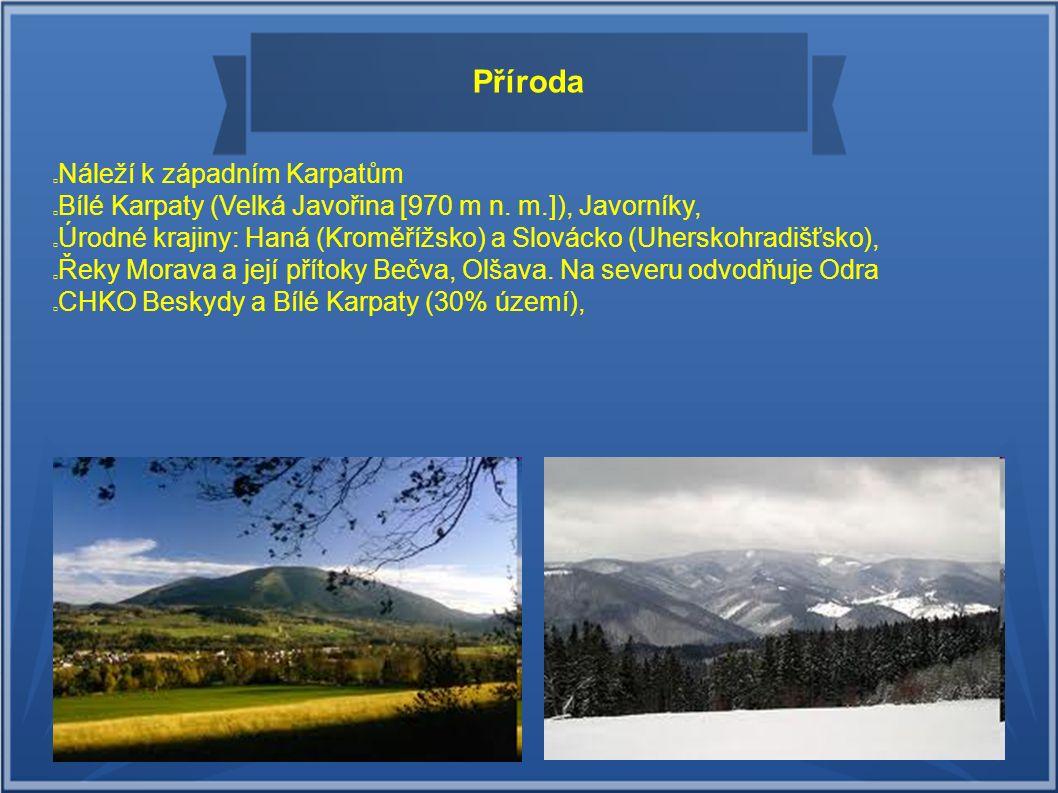 Příroda Náleží k západním Karpatům Bílé Karpaty (Velká Javořina [970 m n. m.]), Javorníky, Moravskoslezké Beskydy (v kraji nejvyšší Čertův Mlýn [1 200
