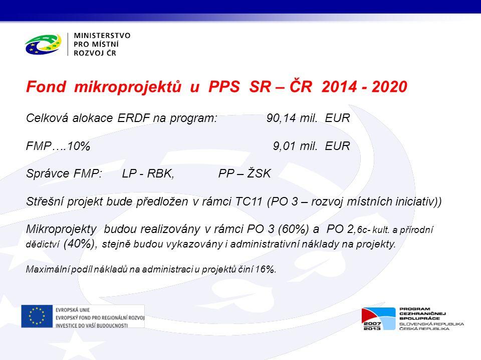 Celková alokace ERDF na program: 90,14 mil. EUR FMP….10% 9,01 mil.