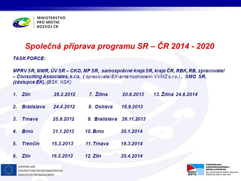 TASK FORCE: MPRV SR, MMR, ÚV SR – CKO, MF SR, samosprávné kraje SR, kraje ČR, RBK, RB, zpracovatel – Consulting Associates, s.r.o, ( zpracovatel EX-ante hodnocení- VVMZ s.r.o.), SMO SR, (zástupce EK), (BSK, NSK) 1.Zlín 28.2.2012 7.