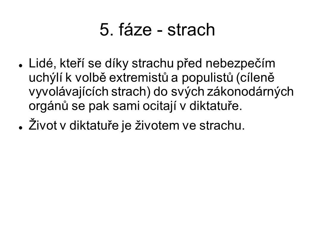 5. fáze - strach Lidé, kteří se díky strachu před nebezpečím uchýlí k volbě extremistů a populistů (cíleně vyvolávajících strach) do svých zákonodárný