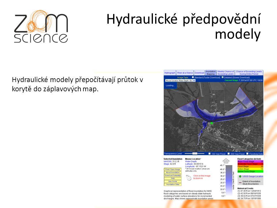 Hydraulické předpovědní modely Hydraulické modely přepočítávají průtok v korytě do záplavových map.