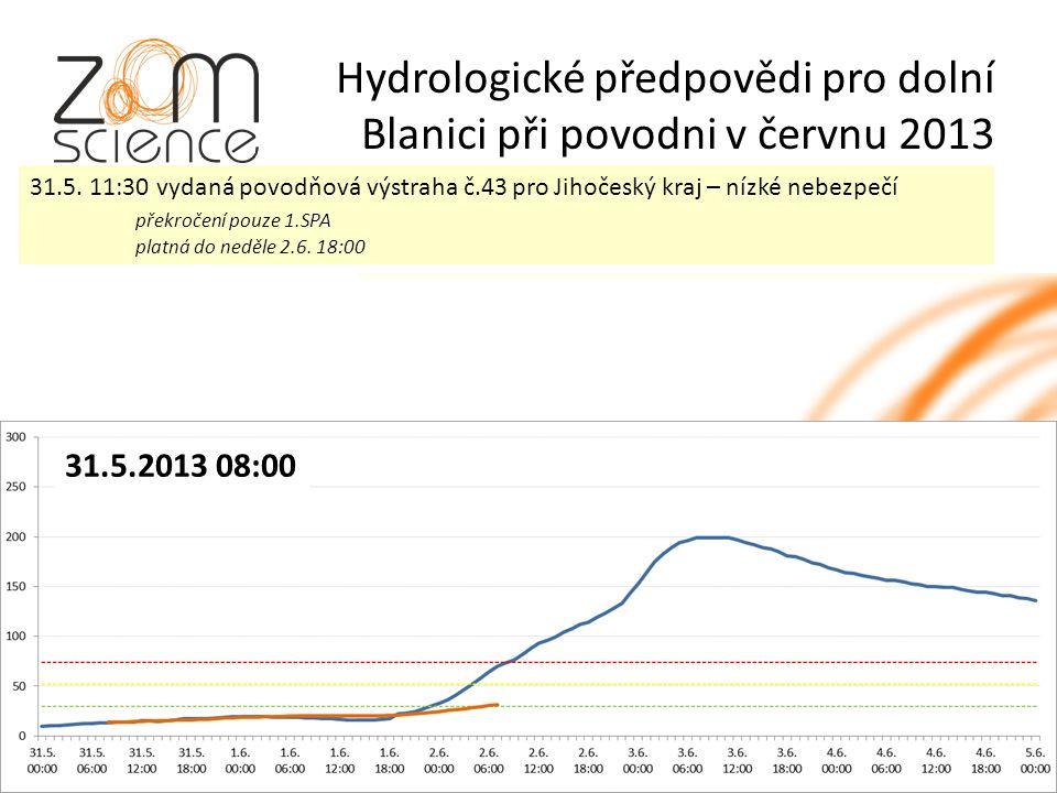 Hydrologické předpovědi pro dolní Blanici při povodni v červnu 2013 31.5.2013 08:00 31.5.