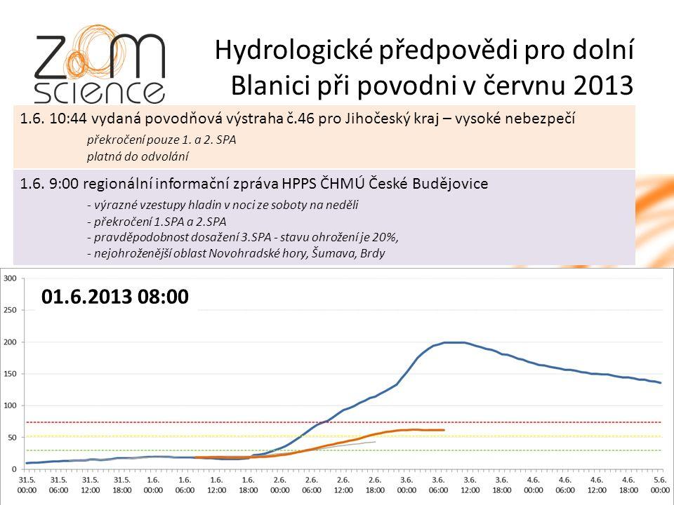 Hydrologické předpovědi pro dolní Blanici při povodni v červnu 2013 1.6.